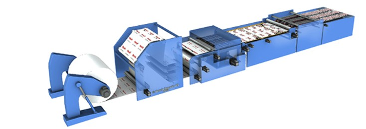 Demonstration of a flatbed die cutter