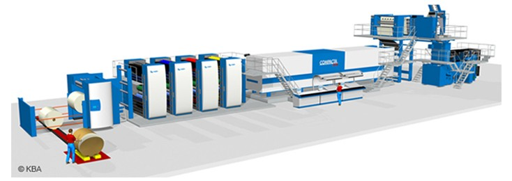 Illustration of a commercial printing machine setup