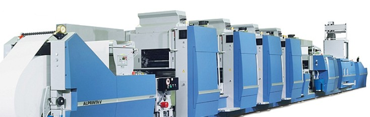 An Alprinta V hybrid machine with four offset print units and one flexographic unit. The printing cylinder change in just two minutes on the Alprinta V print unit with its continuously variable format