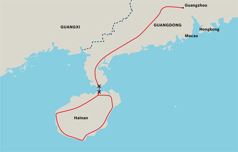 The stretch of track from Guangdong to Hainan connected Hainan Island to mainland China's railway network.